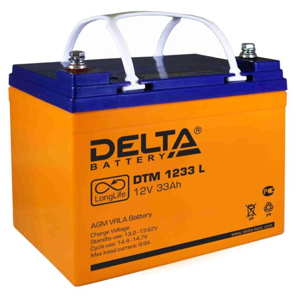 Delta DTM 1233 L (12V / 33Ah), Аккумуляторная батарея