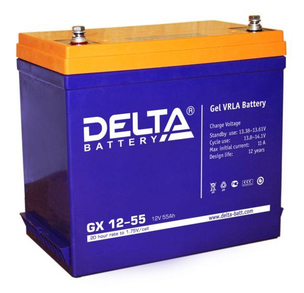 Delta GX 12-55 (12V / 55Ah), Аккумуляторная батарея