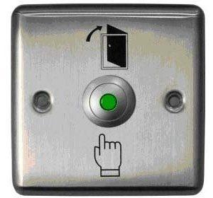 Кнопка металлическая с подсветкой, врезная, НЗ/НР контакты, размер: 90х90 мм Smartec ST-EX110L