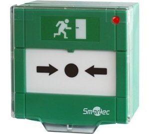 Кнопка разблокировки двери, защитная прозрачная крышка, 1 группа контактов НР/НЗ, СИД индикация, накладная Smartec ST-ER115SL-GN