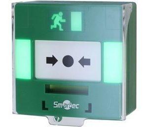 Устройство разблокировки двери с восстанавливаемой кнопкой, световая/звуковая индикаци, 3 группы контактов НР/НЗ Smartec ST-ER116TLS-GN