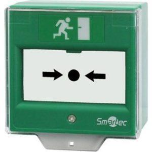 Устройство разблокировки двери со стеклянной вставкой, защитная прозрачная крышка, 2 группы контактов НР/НЗ, накладная Smartec ST-ER114D-GN