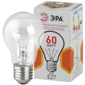 A50 60-230-Е27-CL Лампы НАКАЛИВАНИЯ ЭРА A50 груша 60Вт 230В Е27 цв. упаковка