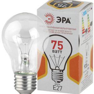 A50 75-230-Е27-CL Лампы НАКАЛИВАНИЯ ЭРА A50 груша 75Вт 230В Е27 цв. упаковка