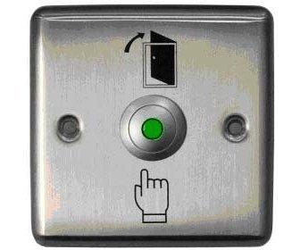 Кнопка металлическая с подсветкой, врезная, НЗ/НР контакты, размер: 90х90 мм Smartec ST-EX110L кнопка