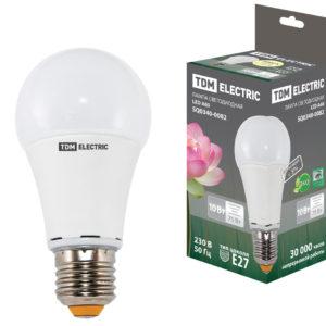 """Лампа LED """"груша"""" Е27 10Вт (910Лм) 3000К 230В TDM"""