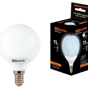 "Лампа ""шар"" Е14 ЭНЕРГОСБЕР. 11Вт нейтр.-бел. d55мм TDM"