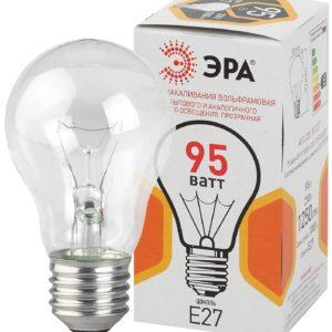 A50 95-230-Е27-CL Лампы НАКАЛИВАНИЯ ЭРА A50 груша 95Вт 230В Е27 цв. упаковка