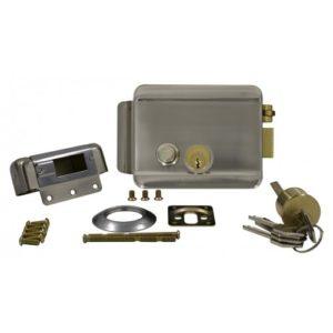 AT-EL101WN (Электромеханический замок накладной с блокировкой, никелированная сталь)