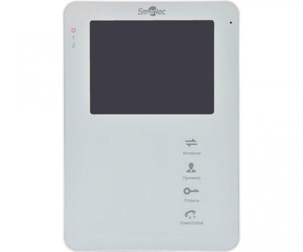 """Монитор видеодомофона 4"""", до 2-х панелей, до 3 мониторов, до 2 камер и охранных датчиков, SD карта, Hands Free Smartec ST-MS204M-WT 4"""" цветной CVBS видеодомофон"""