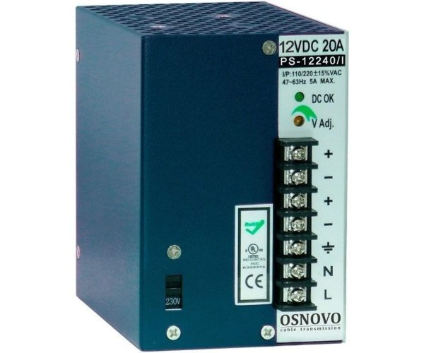 OSNOVO PS-12240/I блок питания 12 В, выходной ток 20А на DIN-рейку
