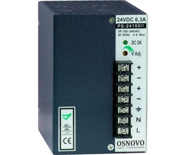 OSNOVO PS-24150/I блок питания 24 В, выходной ток 6.3А на DIN-рейку