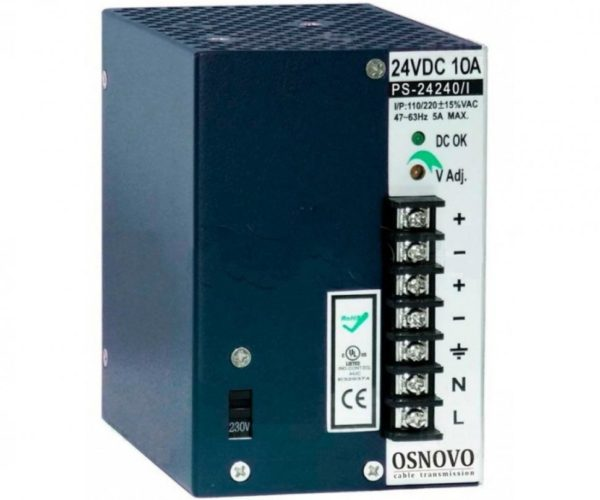 OSNOVO PS-24240/I блок питания 24 В, выходной ток 10А на DIN-рейку