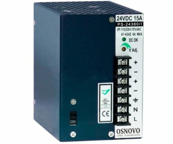 OSNOVO PS-24360/I блок питания 24 В, выходной ток 15А на DIN-рейку