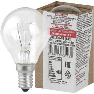 P45-40W-E14/ДШ 230-40 Е 1 Лампа ЭРА шарик 40Вт 230В E14 прозр. в цветной гофре. ДШ 230-40 Е 14