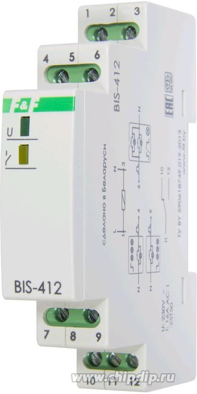 BIS-412i, Реле импульсное 16А 230VAC для группового режима работы