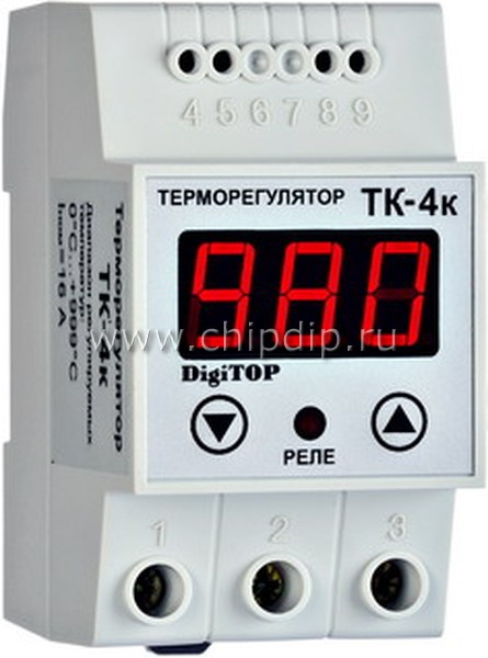 ТК-4к, Терморегулятор с датчиком, DIN (одноканальный, датчик ТХА) 0...+999, шаг 1,0