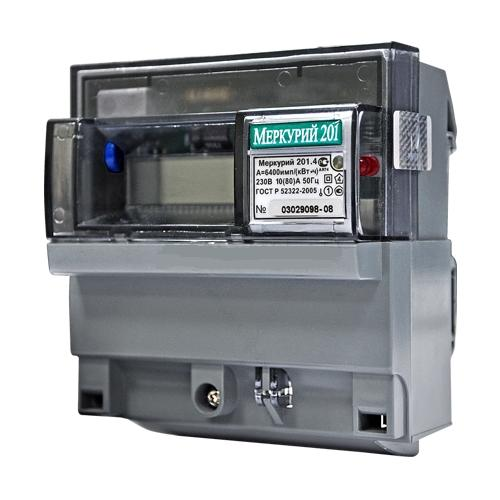 Счетчик электроэнергии  Меркурий 201.4 10(80)А однотарифный ЖКИ