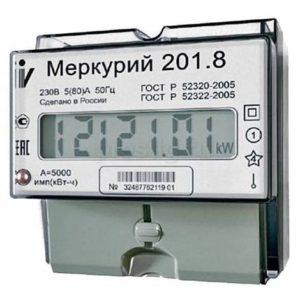 Счетчик электроэнергии  Меркурий 201.8 5(80)А однотарифный ЖКИ