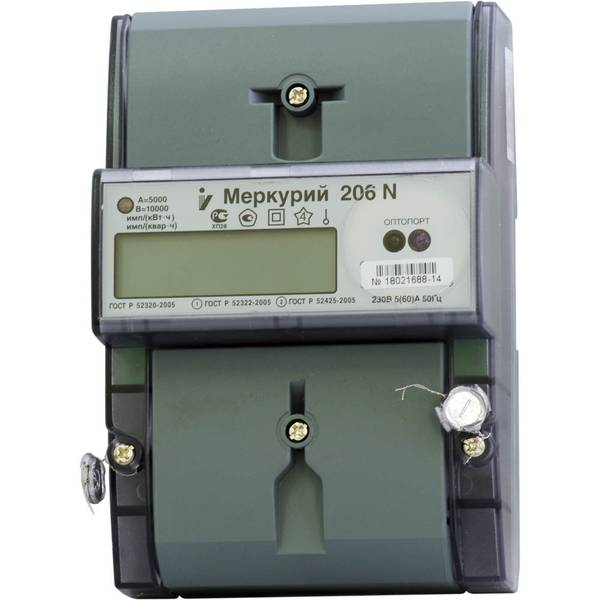 Счетчик электроэнергии  Меркурий 206 N 5(60)А многотарифный ЖКИ