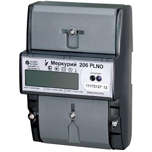 Счетчик электроэнергии  Меркурий 206 PLNO 5(60)А многотарифный ЖКИ