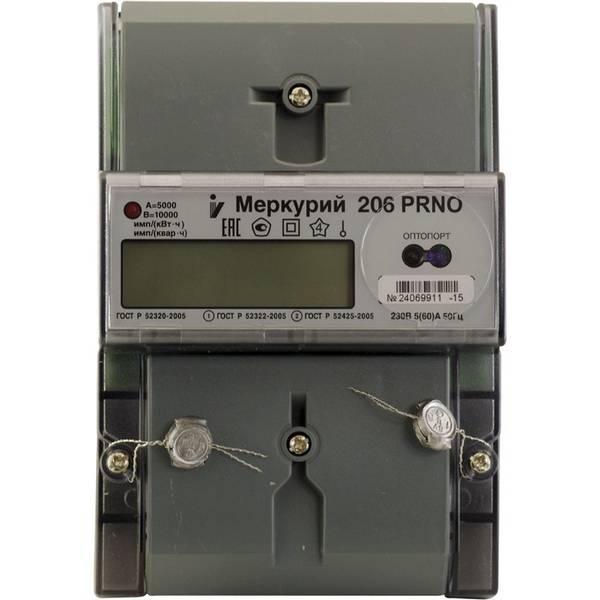 Счетчик электроэнергии  Меркурий 206 PRNO 5(60)А многотарифный ЖКИ