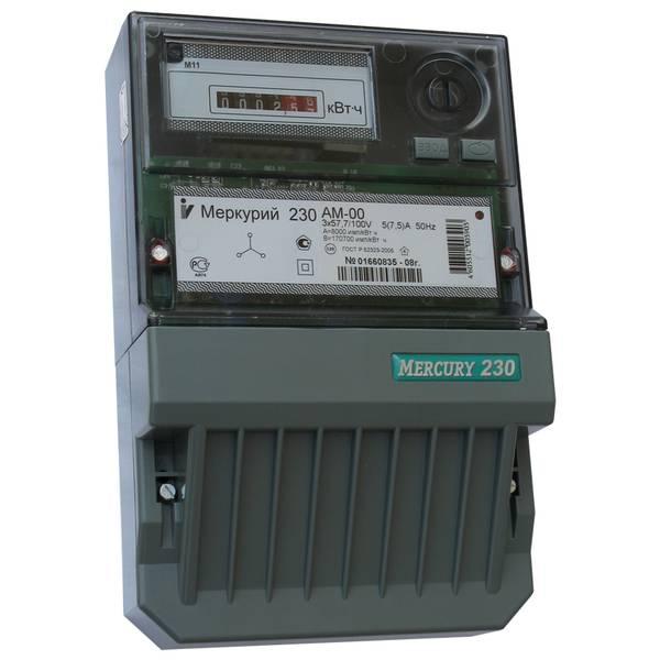 Счетчик электроэнергии  Меркурий 230 AM-00 5(7,5)А однотарифный ОУ