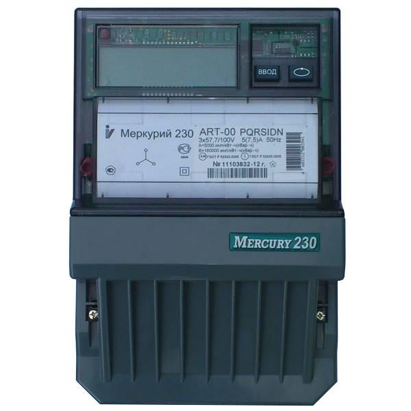 Счетчик электроэнергии  Меркурий 230 ART-00 PQRSIDN 5(7,5)А многотарифный ЖКИ