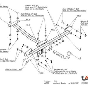 Фаркоп Audi 80 1986-1991, исключая Quattro условно-съемное крепление шара