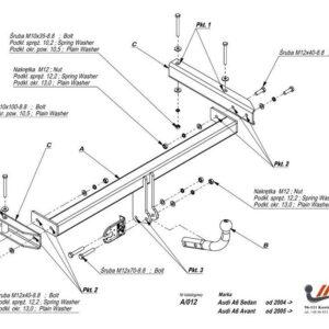 Фаркоп Audi A6 седан/универсал, в т.ч. Quattro 2004-2011 условно-съемное крепление шара