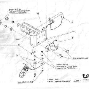 Фаркоп Chevrolet Silverado 2014- фланцевое крепление шара