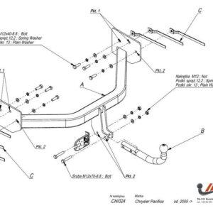 Фаркоп Chrysler Pacifica 2003-2008 условно-съемное крепление шара