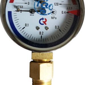 Термоманометр биметаллический РОСМА ТМТБ-31Р1 0+120 оС, 0-0,4МПа, 2.5, G1/2, радиальный