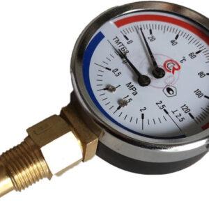 Термоманометр биметаллический ТМТБ-31Р1 ( 0+120оС ), ( 0-2,5 мПа ) 46мм, G1/2, 2.5