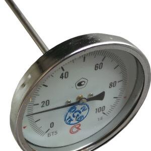 Термометр биметаллический БТ-51.111 (0+100) 150мм, G1/2,1.6, осевой, показывающий