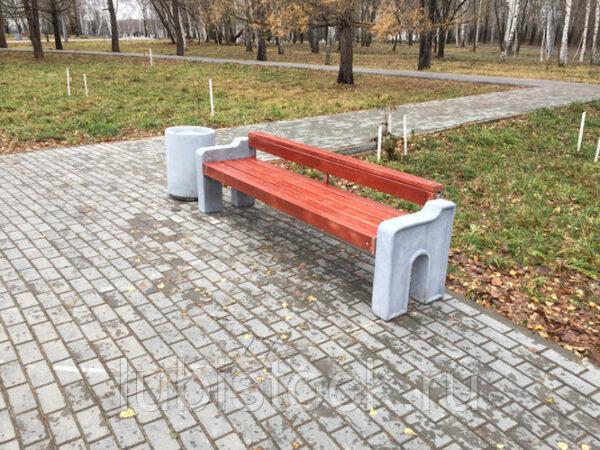 Скамейка бетонная со спинкой Отдых