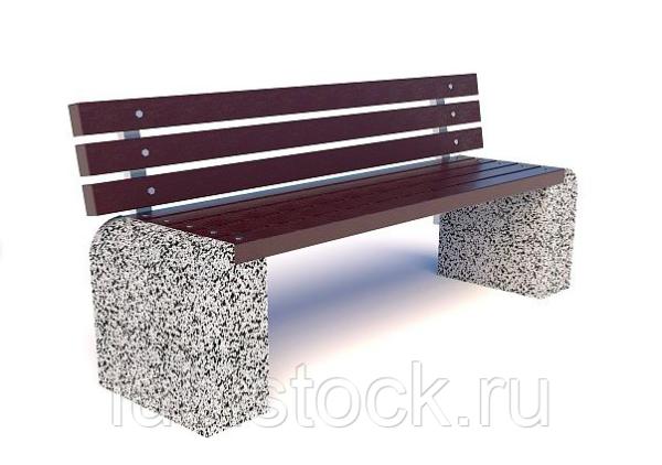 Скамейка бетонная уличная Евро 1 со спинкой