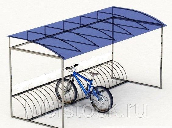 Велопарковка с навесом на 7-10 мест. Размер: Д3000хШ2100хВ2300мм.